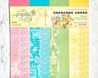 Graphic 45 Ephemera Queen Patterns and Solids Pad-includes 2 ea -8 dbl-sided 12X12 paper for scrapbooking, paper crafting, card making
