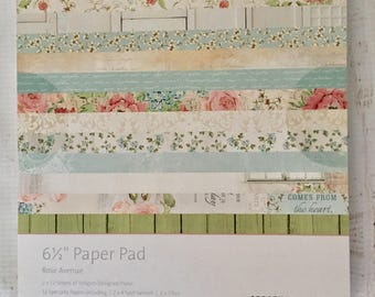 KaiserCraft Rose Avenue, 6.5x6 .5 in., pad of paper, 2X 12 designs, 12 specialty papers, and 4 die cut pages for planning, scrapbooking