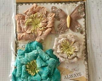 Prima Handmade Flower Embellishments, pkg of 4, for  scrapbooking, card making, mixed media, mini albums, art journaling, papercrafting