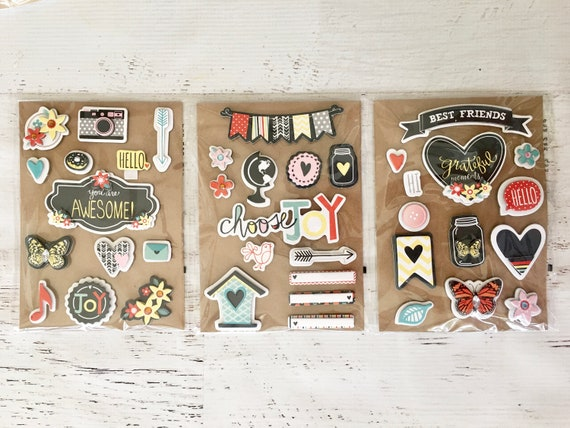 Chipboard Sticker Embellishments By Michaels 13 Pcspkg For Etsy
