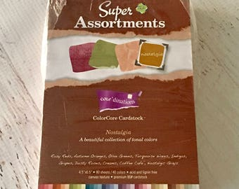 """Core'dinations textured cardstock sheets, Nostalgia, 4.5 X 6.5"""", opened package, 10 colors, cardmaking size, papercrafting, scrapbook"""