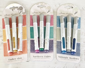 Nuvo Glitter Markers, by Tonic Studios,  1 fl oz bottle in Ember Glow, Northern Lights, Midnight Shadows, add bling, paper crafting, flowers