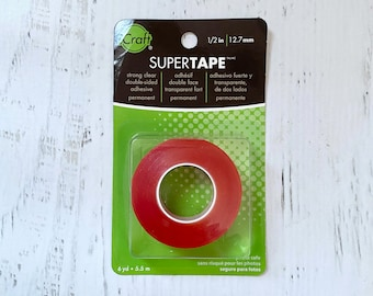 Supertape, double-sided, acid-free clear tape by therm-o-web, 6 yd. roll, 1/2 in. width, adhesive, red backing, tape for scrapbooking,