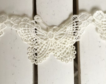 Maya Road Butterflies Vintage Lace Trim Ribbon in cloud, 2 in. wide, sold by the yard, for scrapbooking, card making, sewing, fabric arts