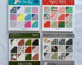 My Mind's Eye 6X6 paper pads, One Fine Day, My Heritage, Holly Jolly, or Yuletide, planners, scrapbooking, paper crafting, card making
