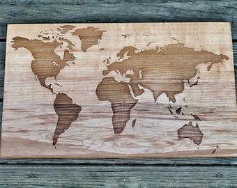 World Map - Engraved on Figured Sugar Maple Wood - Wooden World Map - Solid Slab Map - World Map Art -  12 x 20 Inches