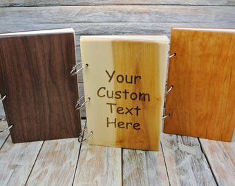 Wood Book - One Custom Engraved Book - (Choose Wood Type) - Wedding Book - Guest Book - Journal - Diary - Notebook - Wedding Gift