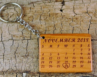 One Custom Engraved Wood Reminder/Save The Date Keychain - Wedding Date - Due Date - Anniversary Date - Keepsake
