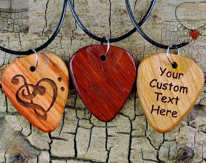 Featured listing image: Necklace - One Custom Engraved Wooden Guitar Pick Necklace - (Choose Wood Type and Engraving) - Custom Guitar Pick - 18-20inch Adjustable