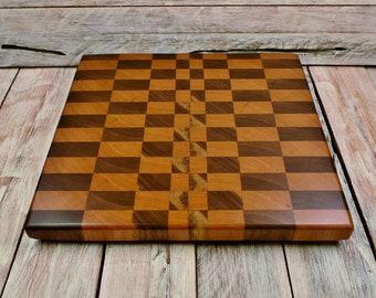 Cherry/Walnut Wood Endgrain Cutting Board - - Wedding Gift - Custom Cutting Board - Engraving Option Available