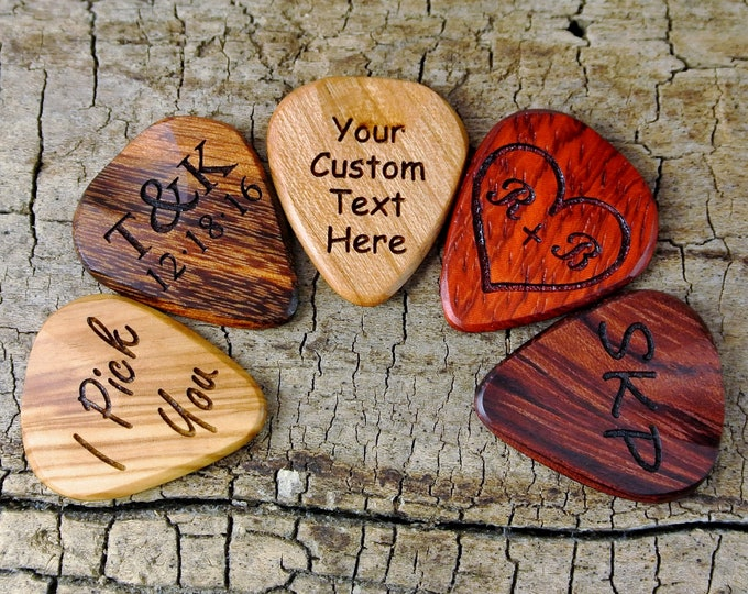 Featured listing image: One Custom Wood Guitar Pick - Custom Engraved Wooden Guitar Pick-(Choose Wood Type and Design) - Wood Guitar Pick- Personalize -Laser Engrav