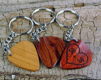 Keychain - One Custom Engraved Wooden Guitar Pick Keychain - (Choose Wood Type and Design) - Wood Guitar Pick -Custom Wood Guitar Pick