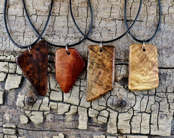 ONE Odds & Ends Wood Pendant Necklace - (Choose Wood Type and Necklace Length) - Wood Pendant - Burl Wood Necklace