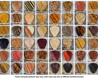 Pickslay's Guitar Pick Collection - One Wooden Guitar Pick - (Choose Wood Type) -  Exotic Woods - Rare Woods Domestic Woods-Wood Guitar Pick