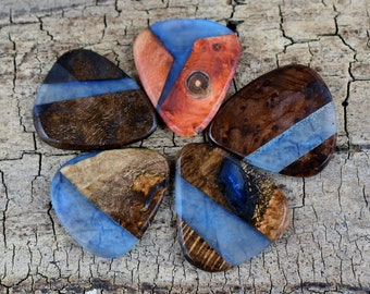 Resin Wood - One Resin and Wood Guitar Pick -(Choose Pick) - Wood Guitar Pick - Guitar Pick - Exotic and Domestic Woods