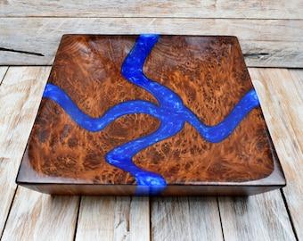 Redwood Burl Resin River Bowl - Redwood Burl Wood Bowl with Blue Resin - Hand Carved Bowl - 11 inch Square Bowl