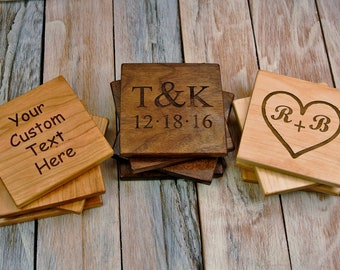 Wood Coasters - One Set of 4 Custom Engraved Coasters - (Choose Wood Type) - Set of 4 Coasters - Gift Set - Coffee Coasters - Wedding Gift