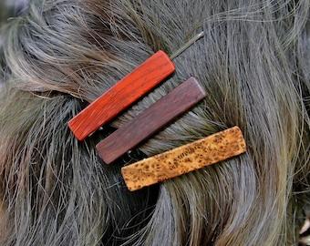 "Wood Hair Clip  - One Wood Hair Clip Custom Engraved  - (Choose Wood Type) - 1 3/4"" long Hair clip - Wedding Gift - Bridesmaid Gift"