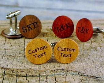 Wood Cuff Links -One Custom Engraved Pair of Cuff Links - (Choose Wood Type) - Wedding Favor - Wedding Gift - 5th anniversary-Groomsmen Gift