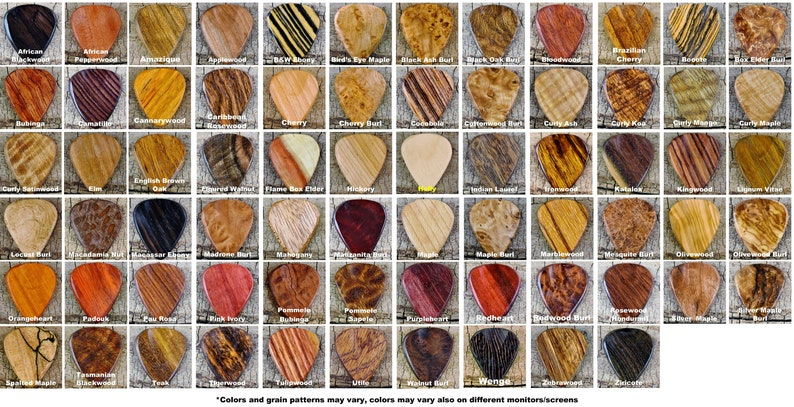 Pickslay's Guitar Pick Collection  One Wooden Guitar Pick image 0