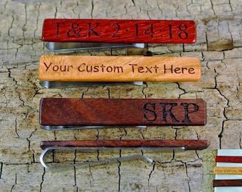 """Tie Clip - One Wood Tie Bar Custom Engraved  - (Choose Wood Type) - 2 1/4"""" long Tie Bar - Wedding Gift - Stainless Steel - Groomsmen Gift"""