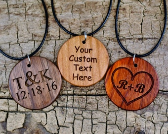Wood Pendant -One  Wood Pendant Necklace - (Choose Wood Type, Engraving) - Wood Circle Pendant -Custom Pendant - 18-20inch Adjustable