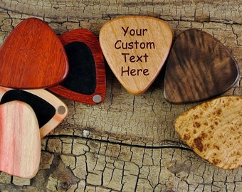 Wood Guitar Pick Box -One Custom Engraved Guitar Pick Box - (Choose Wood Type) -Magnetic lid-holds 1 wooden pick - BOX ONLY