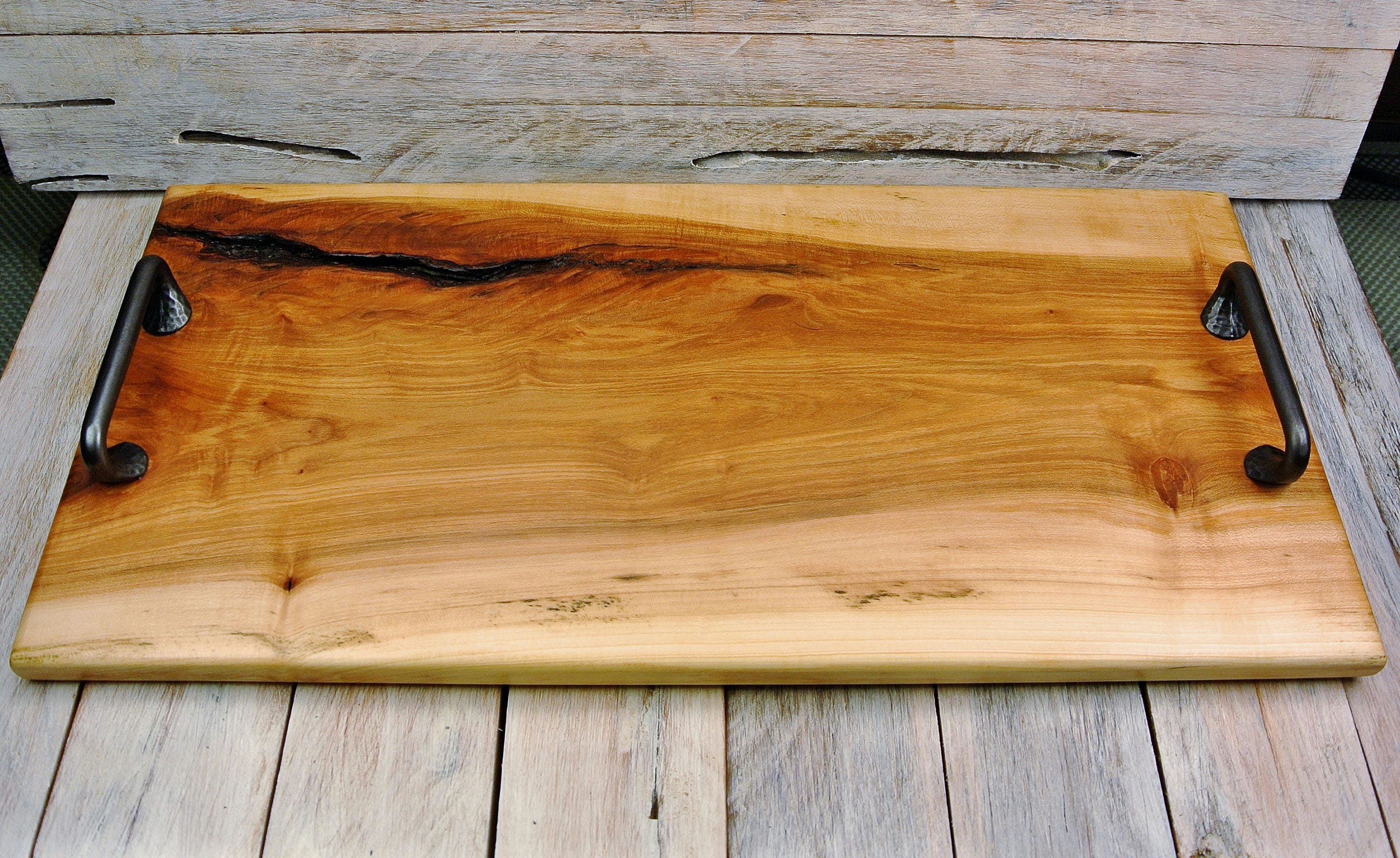 Wooden Serving Tray With Iron Handles Maple Maple