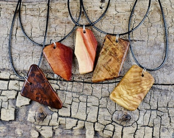 ONE Wood Pendant Necklace - (Choose Wood Type and Necklace Length) - Wood Pendant - Burl Wood Necklace