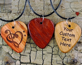 Necklace - One Custom Engraved Wooden Guitar Pick Necklace - (Choose Wood Type and Engraving) - Custom Guitar Pick - 18-20inch Adjustable