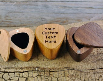 Wood Guitar Pick Box - One Custom Engraved Guitar Pick Box - (Choose Wood Type) -Magnetic lid - holds 5 wooden picks - BOX ONLY