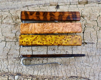 "Tie Clip - One Rare Wood Tie Bar Custom Engraved - 2 1/4"" long Tie Bar - Very Rare Woods - Rare Burls - Stainless Steel - Groomsmen Gift"