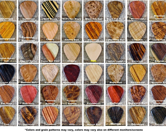Featured listing image: Pickslay's Guitar Pick Collection - One Wooden Guitar Pick - (Choose Wood Type) -  Exotic Woods - Rare Woods Domestic Woods-Wood Guitar Pick