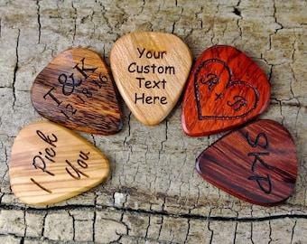 One Custom Wood Guitar Pick - Custom Engraved Wooden Guitar Pick-(Choose Wood Type and Design) - Wood Guitar Pick- Personalize -Laser Engrav