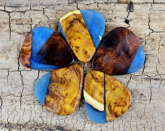 Resin Wood - One Resin and Wood Guitar Pick -(Choose Pick) - Wood Guitar Pick - Guitar Pick - Very Rare Woods