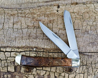 Silver Maple Burl Pocket Knife with Wood Handles - Classic Two Blade Trapper - Engraving Option Available - Gift for Men