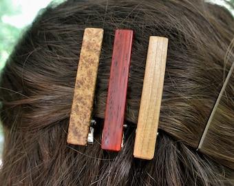 "One Wood Hair Clip Custom Engraved  - (Choose Wood Type) - 2 1/4"" Hair clip - Wedding Gift - Bridesmaid Gift"