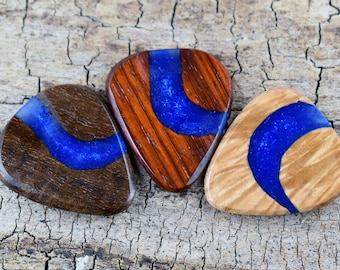 Resin River Wood Guitar Picks - One Resin and Wood Guitar Pick -(Choose Pick) - Wood Guitar Pick - Guitar Pick - Exotic and Domestic Woods