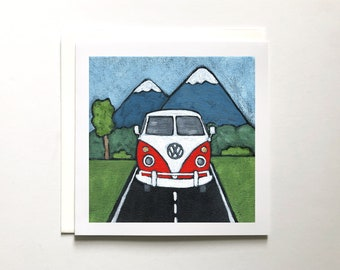 Blank Card Flying Volkwagen and Geese Greeting Card A9 card. Art Collage Greeting Card Handmade Card