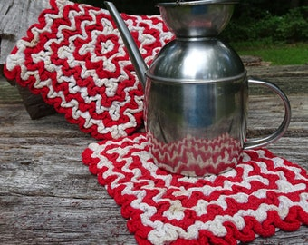 Vintage Crochet Red and White Pot Holders
