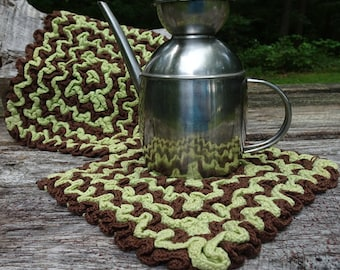 Vintage Crochet Green and Brown Pot Holders