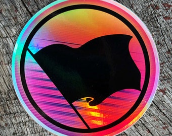 80s Vaporwave Retro Black Anarchy Flag Iridescent Foil Sticker