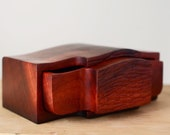 Carved Australian wooden box reclaimed River Redgum twin drawer with carved drawer fronts