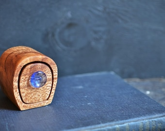 Silky Oak little wooden cave box bandsaw box with blue glass