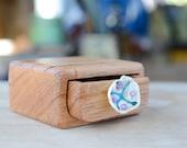 Small wooden box, wood keepsake box, wood drawer box, glass drawer pull, australian wood box, wedding ring box, wood glass box