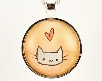 Kawaii Cat Necklace, Cute Kitty Jewelry, Hand Painted Pendant
