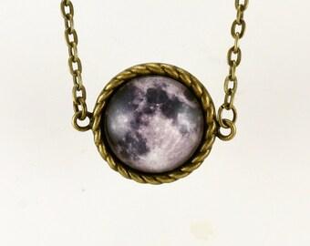 Collar, colgante de la luna, luna llena luna bronce encanto joyas