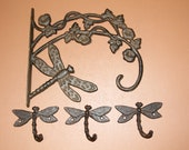 4pc Dragonfly Design Plant Hanger And Wall Hooks, Spring Home Decor, Free Ship