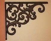 2) pcs, Elegant Country design, rustic cast iron shelf brackets, DIY shelf bracket project, paintable, 9 1 4 quot , vintage look, B-23