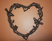 Large Heart, Birds and Flowers, Twig Look Shape Heart, Cast iron, Free shipping H-32b